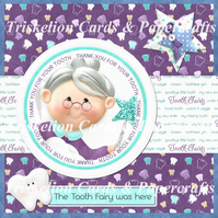 PRINTED Tooth Fairy Thank You Card Front Kit with Decoupage & Insert
