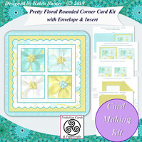 DIGITAL Card Making Kit Floral Squares Card Matching Envelope & Insert - Emailed