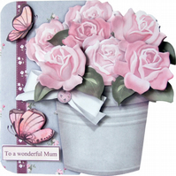 Butterflies & Roses Shaped 3D Decoupage Birthday Card Various Options Available