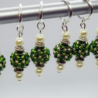 Snag Free Knitting Stitch Marker Set with Green and Gold Beaded Beads Set of 6