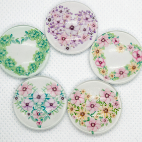 5 Floral Heart Wreaths Glass Magnets Flower Fridge Magnets Decorative Magnets