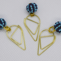 3 Blue & Turquoise Beaded Bead Teardrop Paperclip Dangle Bookmarks Planner Clip
