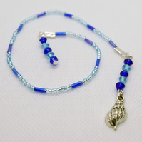 Seashell Charm Beaded Bookmark Book Thong Book Accessories Book Bling Blue
