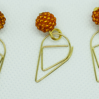 3 Orange Beaded Bead Teardrop Paperclip Dangle Bookmarks Planner Clips