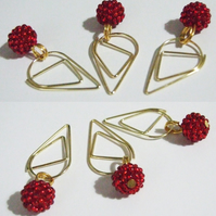 3 Raspberry Red Beaded Bead Teardrop Paperclip Dangle Bookmarks Planner Clips