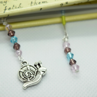 Snail Charm Beaded Bookmark Book Thong Book Accessories Book Bling Blue Pink