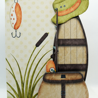 Gone Fishing 3D Decoupage Card for Men Happy Birthday Father's Day Retirement