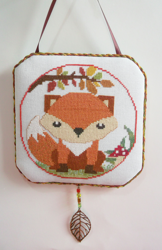 Completed Cross Stitch Woodland Autumn Fox Wall Hanging & Dangling Beaded Leaf
