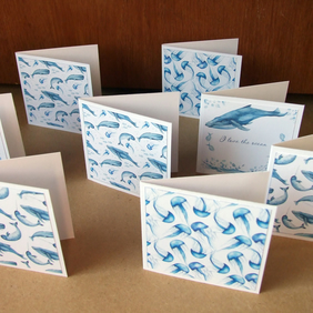8 Ocean Themed 3x3 Inch Blank Notecards Stationery Thank You Cards