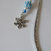 Snowflake Charm Blue and White Beaded Bead Dangle Embossed Metal Bookmark