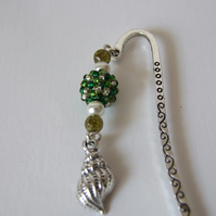 Shell Charm Green Beaded Bead Dangle Embossed Metal Bookmark