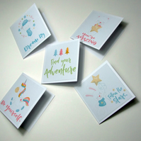 Set of 5 Mini Note Cards Motivational Phrases Positivity 3 x 3 Blank Note Cards
