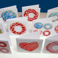 Set of 10 Doughnut Mini Note Cards 3 x 3 Blank Note Cards & White Envelopes
