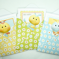 6 Mini Note Cards & Daisy Pattern Mini Envelopes 3x3 Blank Note Cards with Bees