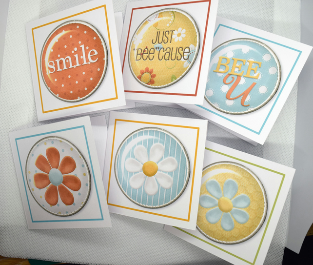 Set of 6 Bees, Flowers & Phrase 3 x 3 Blank Mini Note Cards Gift Tags Stationery