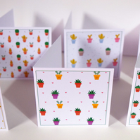 Cactus 3 x 3 Blank Mini Note Cards Gift Tags Stationery Set Square Mini Notecard
