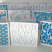Set of 10 Mini Cactus Pattern Note Cards 3 x 3 Blank Notecards 10 Mini Notecards