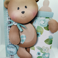 New Baby Boy Shaped 3D Decoupage Card Oh So Adorable Teddy Bear & Baby Bottle