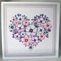 Floral Heart Shaped Wreath Any occasion Greetings Card