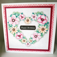 Floral Heart Shaped Wreath Birthday Card