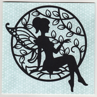 Reclining Fairy Silhouette Card, Any Occasion card, Birthday Cards, etc
