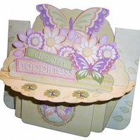 Dream Happiness Butterflies and Flowers 3D Decoupage Shelf Card
