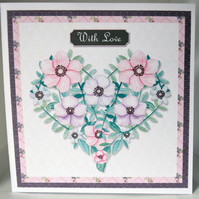 Floral Heart Shaped Wreath Any occasion Greetings Card With Love