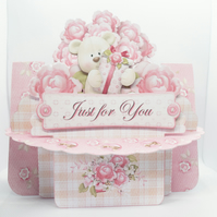 Beary Special 3D Decoupage Shelf Card & Matching Envelope Handcrafted Birthday