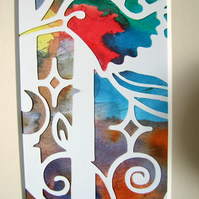 Papercut Art, Hummingbird and Trees, Abstract Art, Ink on Paper, 5x7 Inch Mount