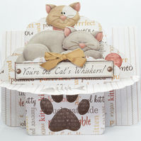 You're The Cat's Whiskers 3D Decoupage Shelf Card & Matching Envelope Cat Lover