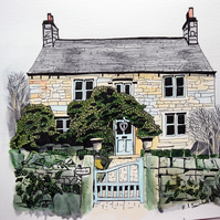 Pen and Ink Hillside Cottage Original Artwork Architectural Art Watercolour