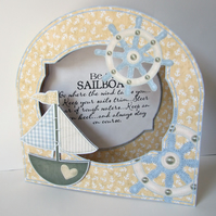 Sailboat 3D Decoupage Large Round Top Aperture Card, Sailing, Nautical, Boating