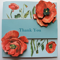 Thank You 3D Decoupage Poppies Greetings Card