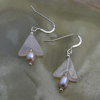 Sterling Silver Rose Quartz & Freshwater Pearl Earrings