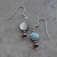 Black Shell & Peacock Freshwater Pearl Sterling Silver Earrings