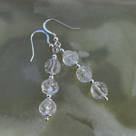 Natural Carved White Quartz Sterling Silver Earrings