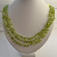 Peridot Crocheted Three Strand Necklace