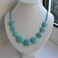 Turquoise Collar Cord Necklace with Magnesite Stones