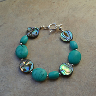 Natural Turquoise and Abalone Shell Bracelet