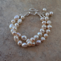 Two Strand Ivory White Freshwater Pearl Bracelet Knotted on Silk