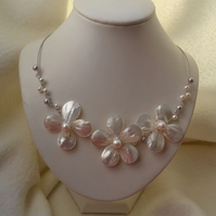 White Mother of Pearl Shell Flowers Wire Work Collar Necklace