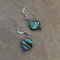 Abalone Shell & Swarovski Crystal Sterling Silver Earrings