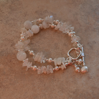 Moonstone & Freshwater Cultured Pearl Two Strand Bracelet