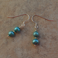 Blue Freshwater Cultured Pearl Sterling Silver Earrings