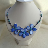 Blue Wire Work Flower Necklace with Mother of Pearl, Pearls & Lapis Lazuli