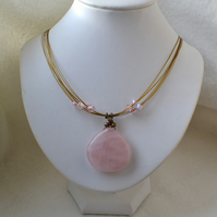 Rose Quartz & Crystal Pendant Necklace