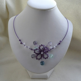 Purple Amethyst, Moonstone & Fluorite Wire Work Collar Flower Necklace