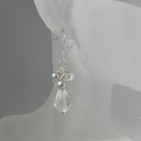 White Quartz and Freshwater Pearl Cluster Drop Silver Dangle Earrings