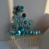 Teal Green & Turquoise Freshwater Pearl Wired Hair Comb