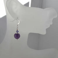 Amethyst and Swarovski Crystal Sterling Silver Stone Drop Earrings